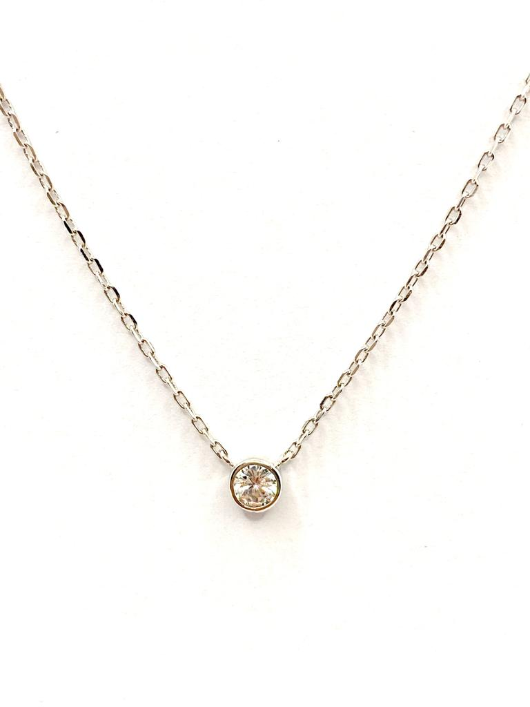 collier or blanc diamant 0,45 carat