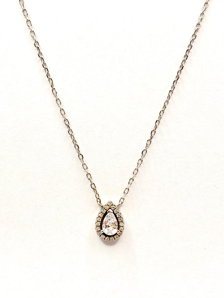 collier or blanc poire diamant