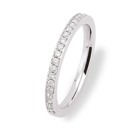 alliance demi tour diamant en or blanc