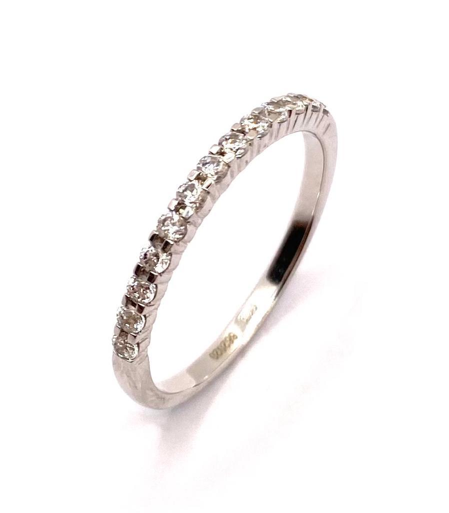 alliance demi tour en diamant en or blanc